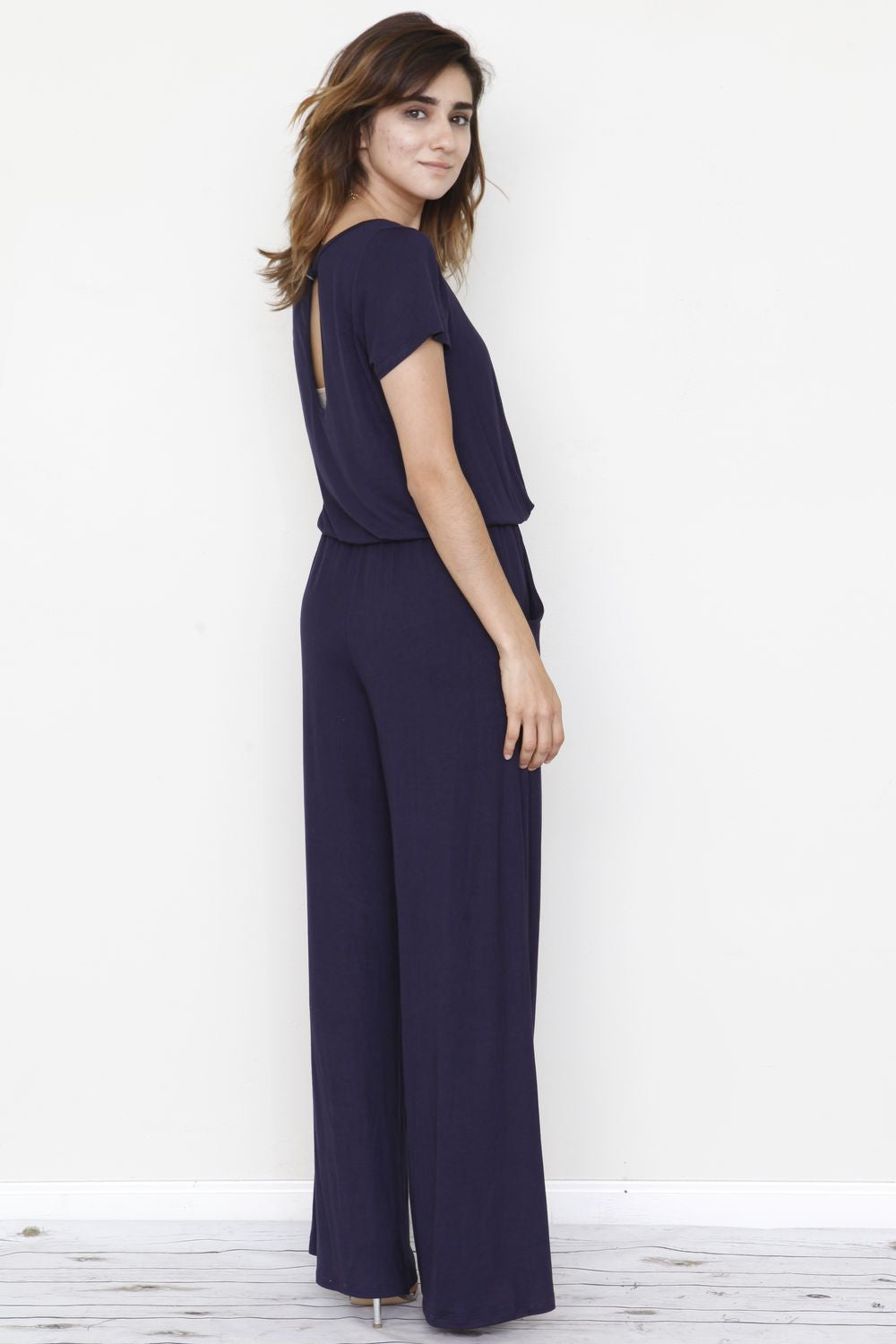 Solid Navy Short Sleeve Jumpsuit
