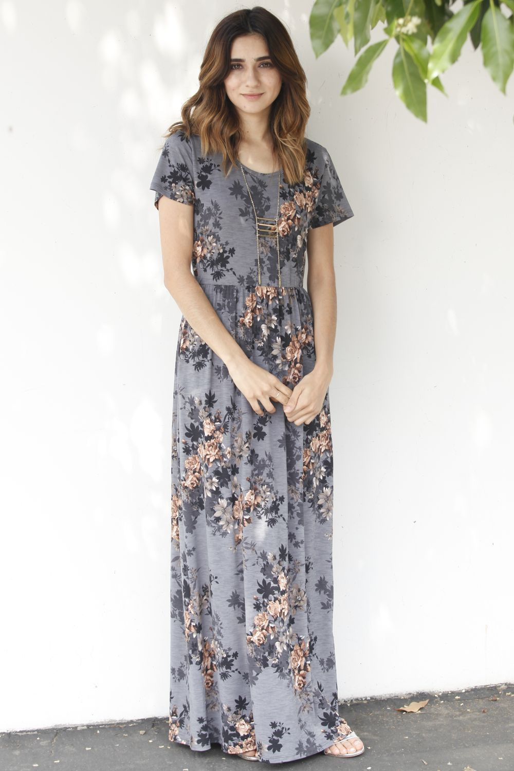 Vintage Charcoal Floral Short Sleeve Maxi Dress