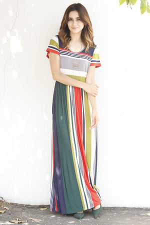 Grey Multi Stripe Short Sleeve Maxi Dress
