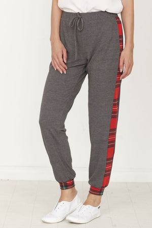Charcoal Drawstring Red Plaid Side Jogger_Plus