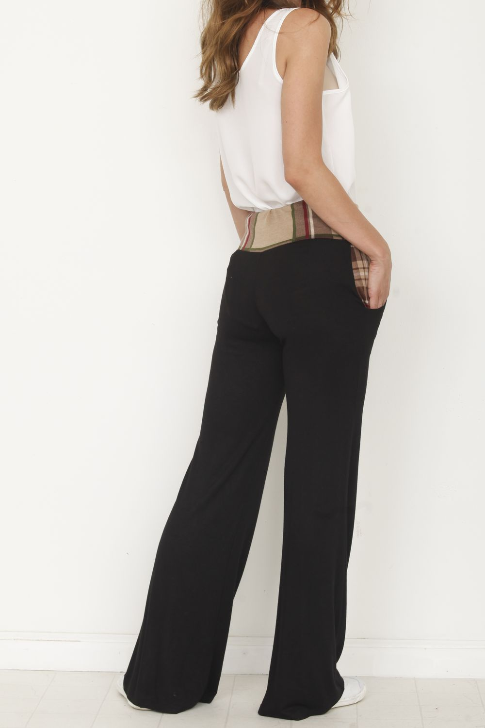 Mocha Plaid Band Black Drawstring Lounge Pants