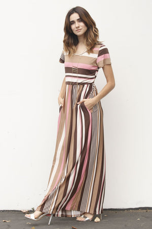 Pink Multi Stripe Short Sleeve Maxi Dress