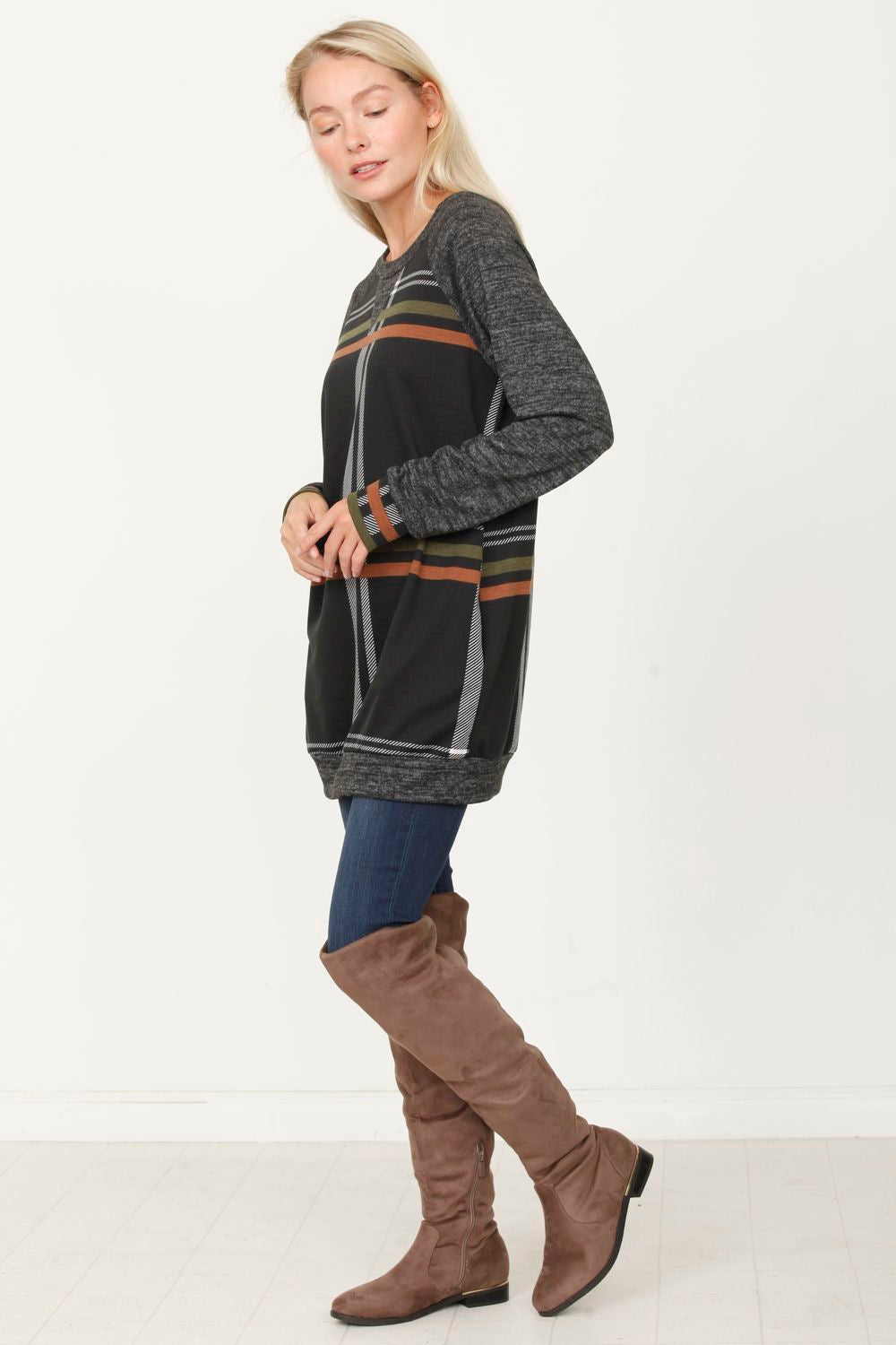 Plaid Crew Raglan Tunic