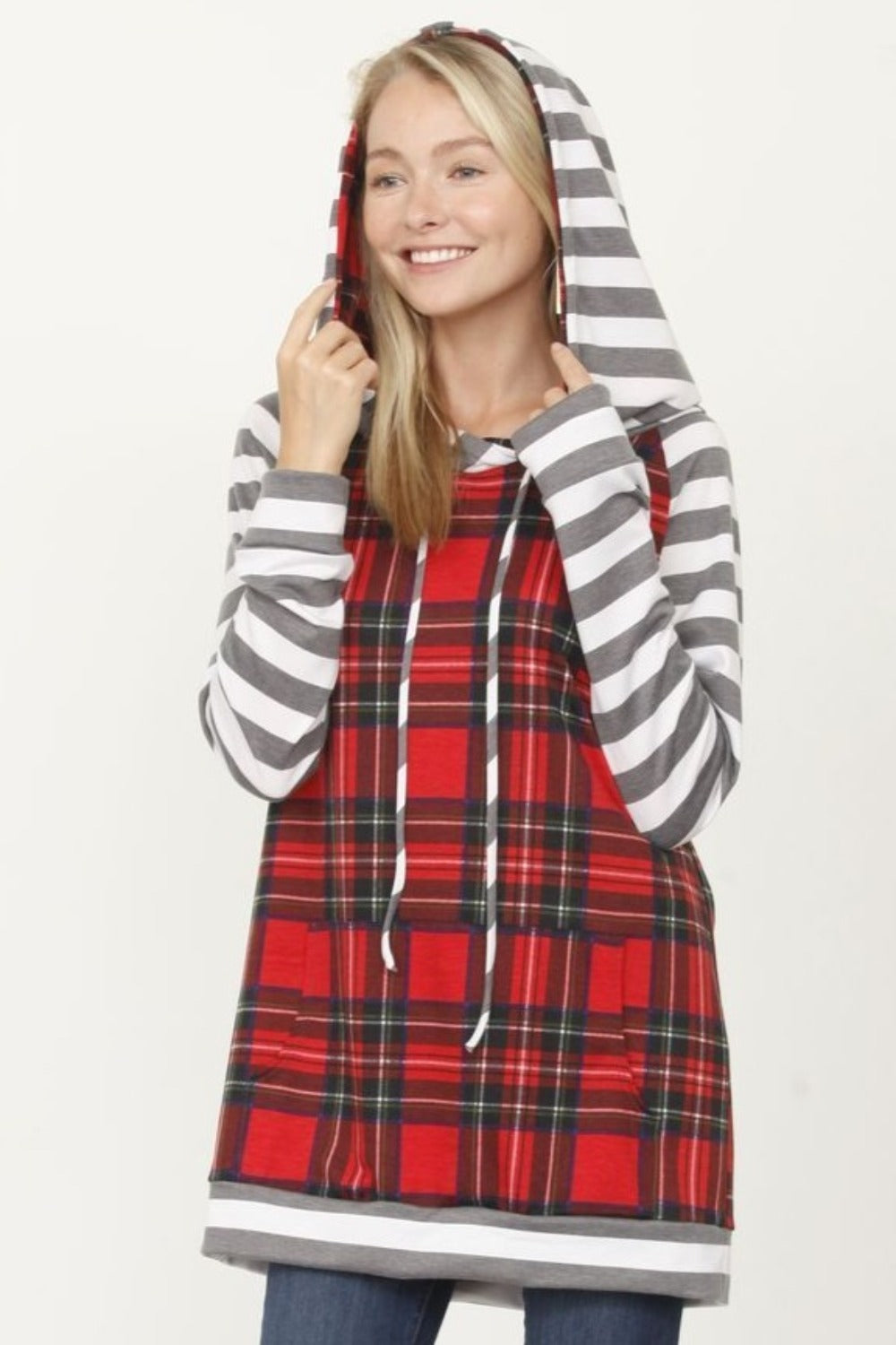Red Plaid Stripe Hoodie