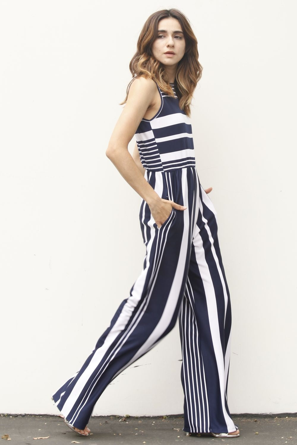 Navy Multi Stripe Sleeveless Jumpsuit
