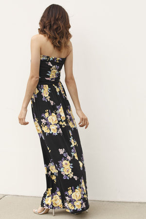 Black & Yellow Floral Tube Top Maxi Dress