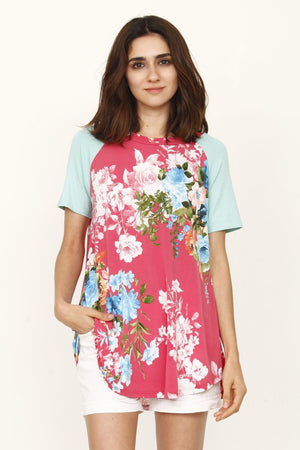 Coral Floral Mint Raglan Sleeve Top