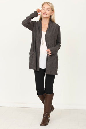 Charcoal Cardigan with Pocket