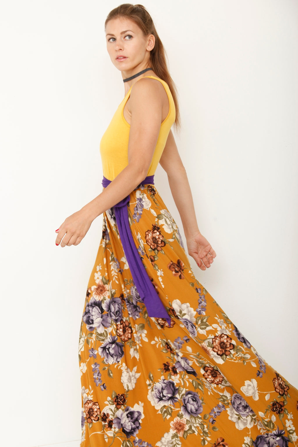Sleeveless Mustard Floral Maxi Dress with Sash_S