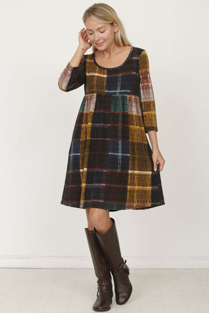 Mustard Rust Windowpane Plaid Empire-Waist Dress
