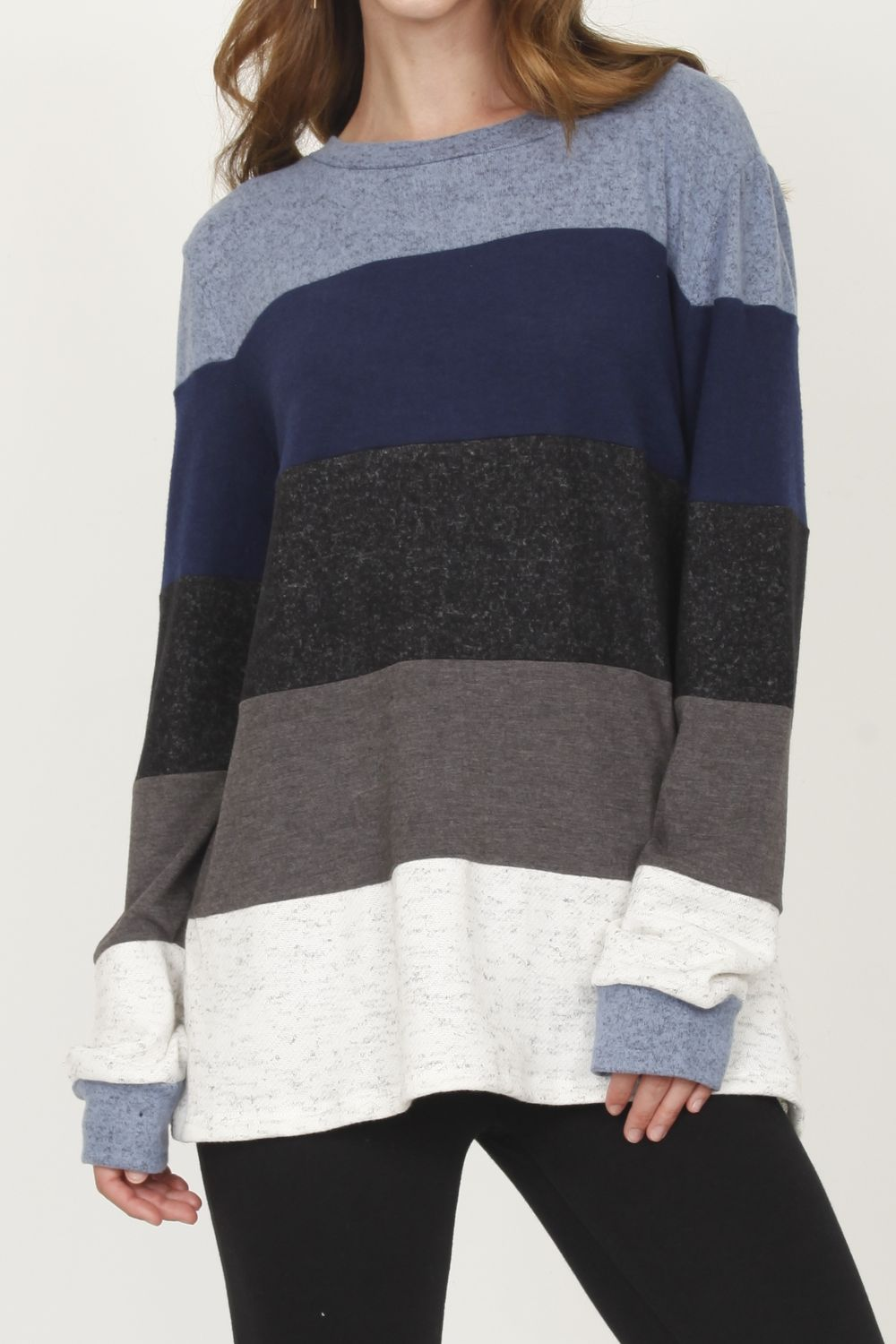 Ivory Terry & Navy Color-Block Sweater