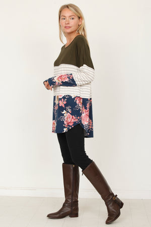 Olive & Navy Floral Color Block Tunic
