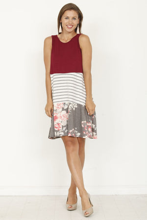 Burgundy & Charcoal Floral Tiered Sleeveless Mini Dress