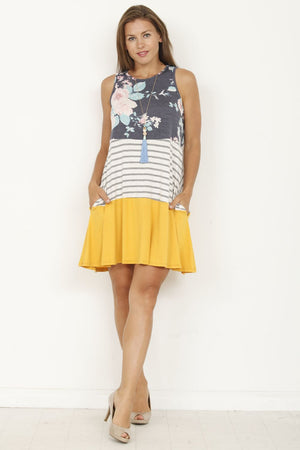 Navy Floral & Mustard Tiered Sleeveless Mini Dress_Plus