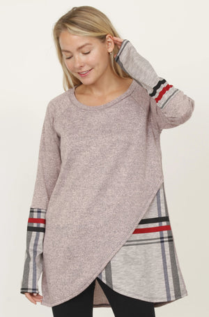 Dust Pink Plaid Tulip Hem Tunic