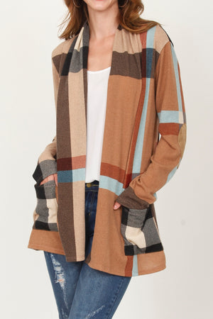 Brown & Mint Plaid Cardigan With Pockets_Plus