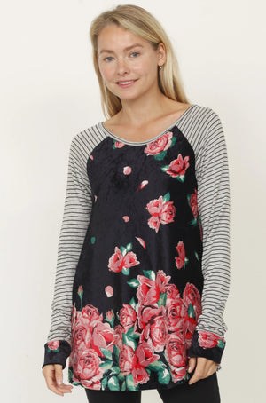 Pink Rose Stripe Sleeve Raglan Cuff Tunic