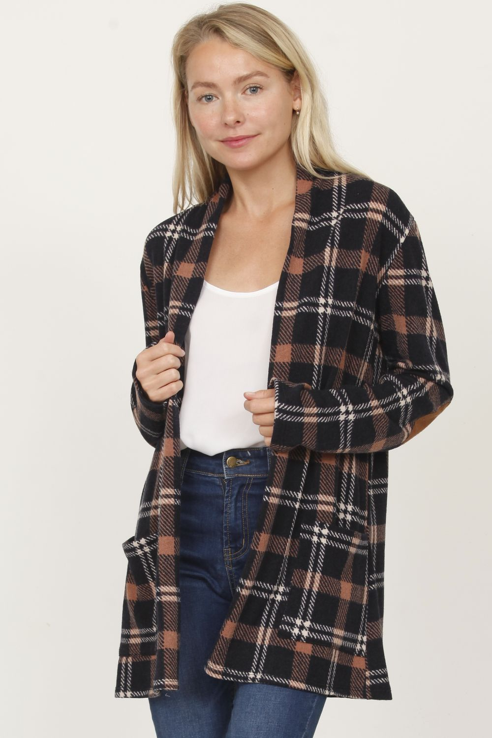Navy Mocha Plaid Elbow Patch Cardigan With Pockets_Plus