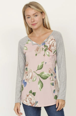Dust Pink Floral V Neck Tunic