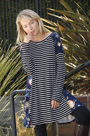 Navy Stripe Floral Panel A-Line Tunic Dress