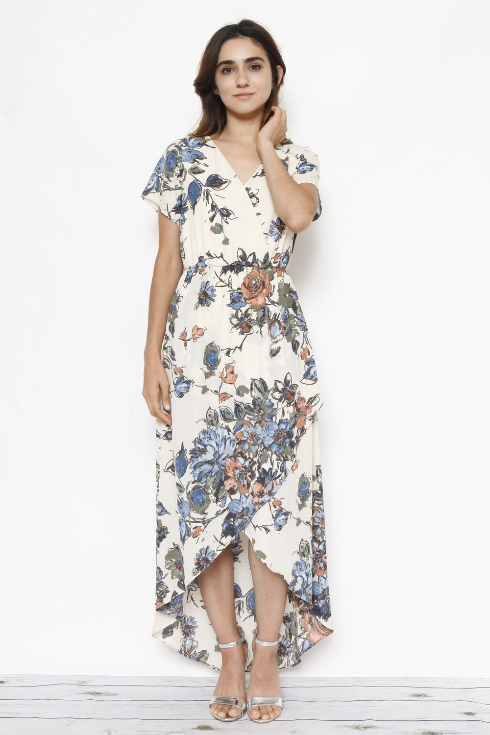 Ivory Floral Surplice Tulip Hem Maxi Dress