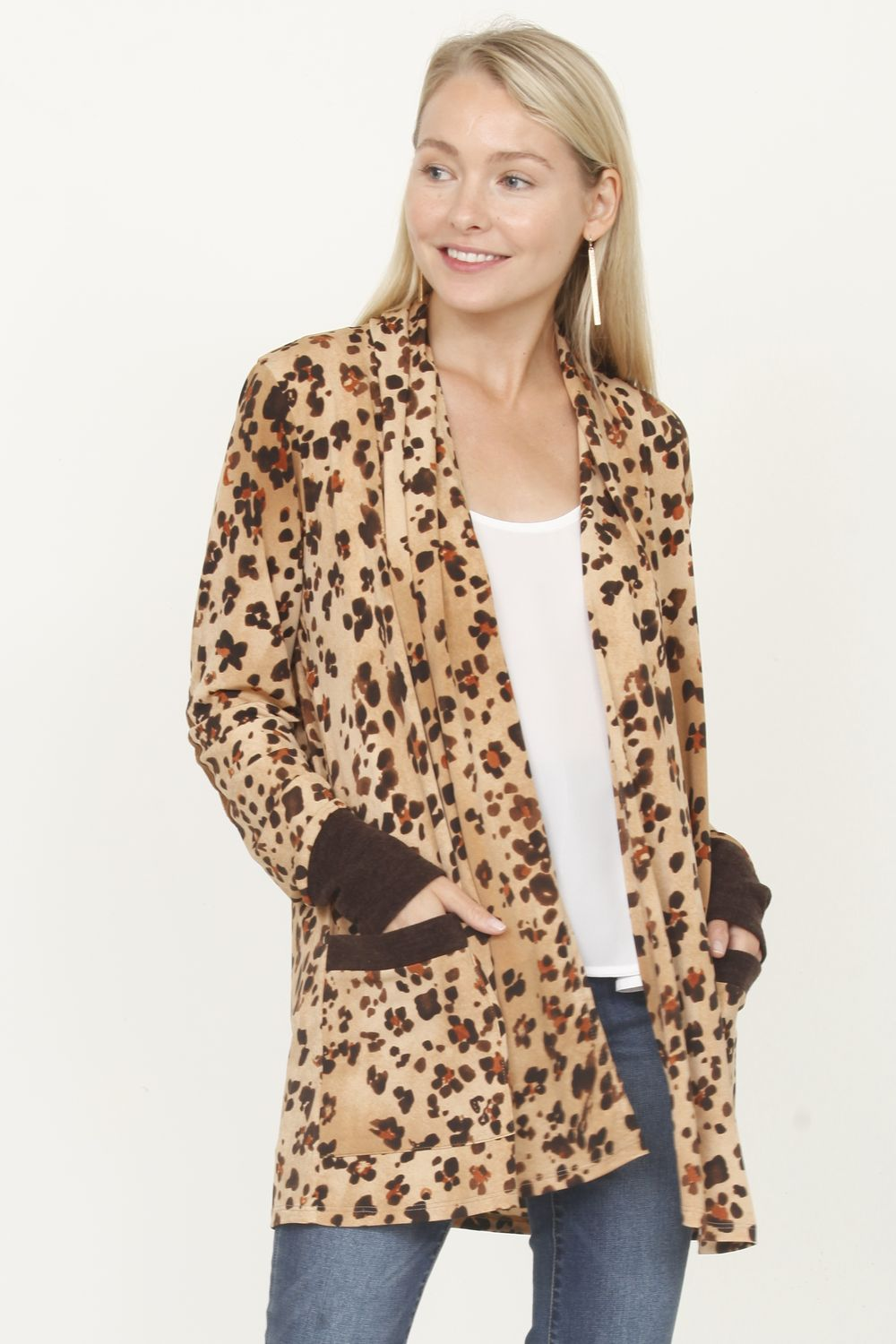 Leopard Cardigan with Elbow Patch