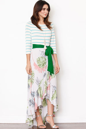 Green Sash Ruffle Tulip Hem Maxi Dress
