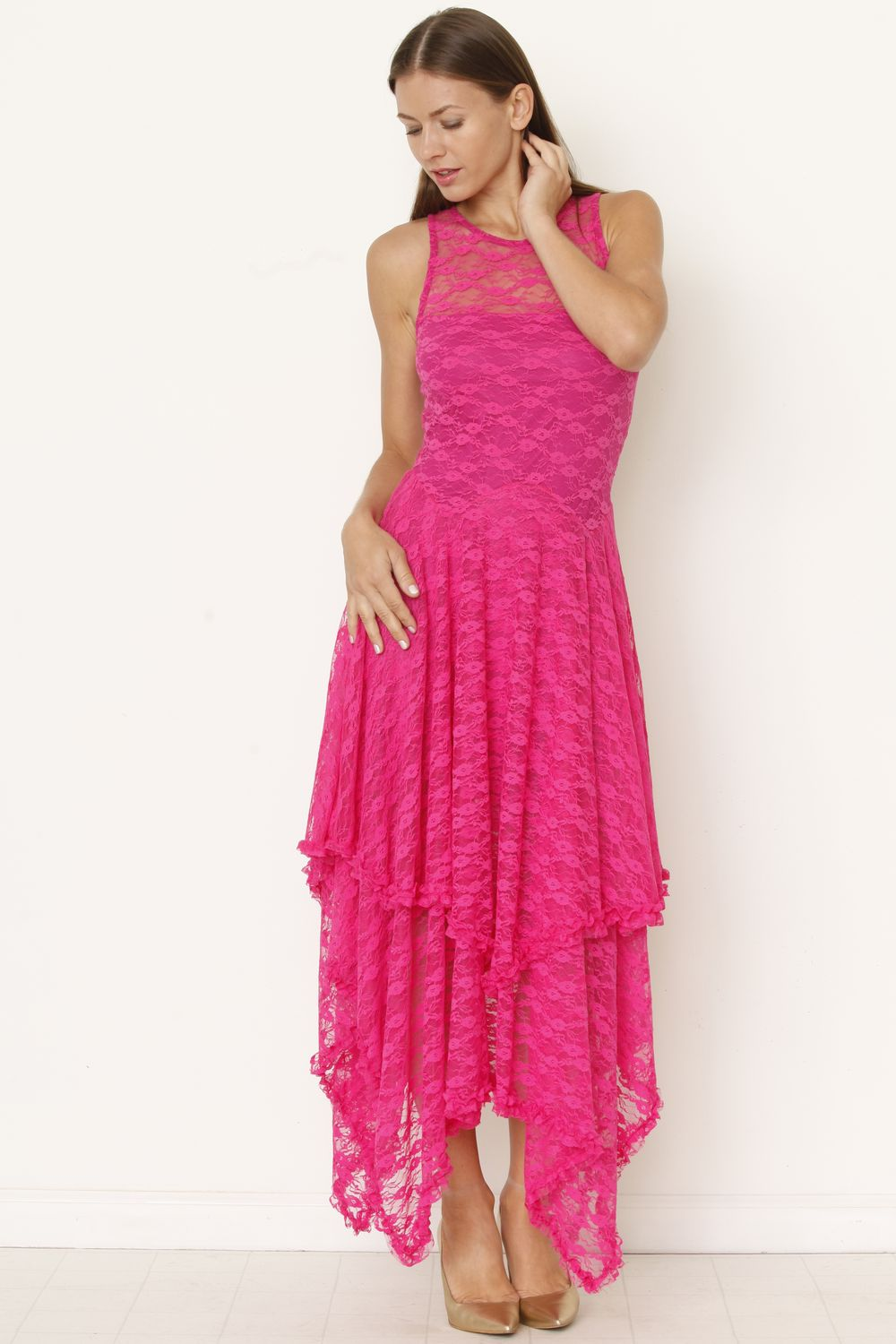 Hot Pink Illusion Neckline Lace Maxi Dress