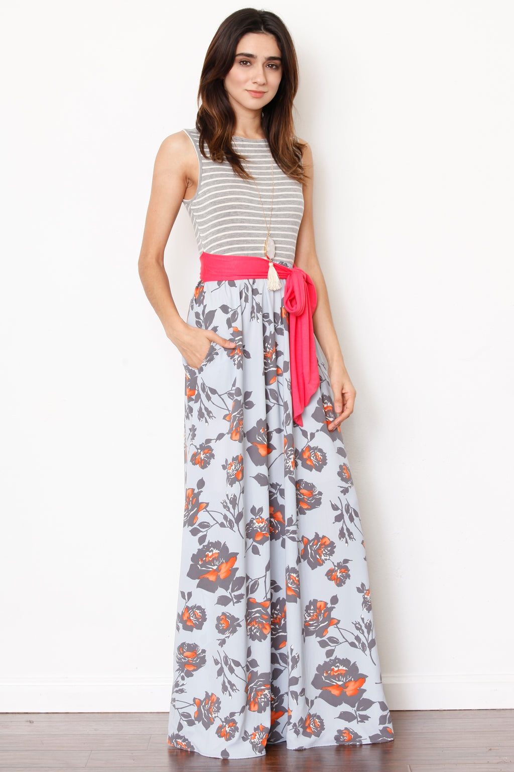 Grey Stripe Sleeveless Light Blue Floral Maxi Dress with Sash_L