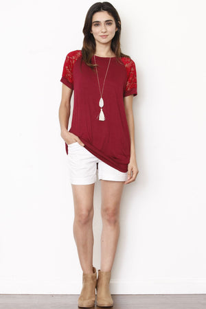 Burgundy Lace Raglan Short Sleeve Tunic