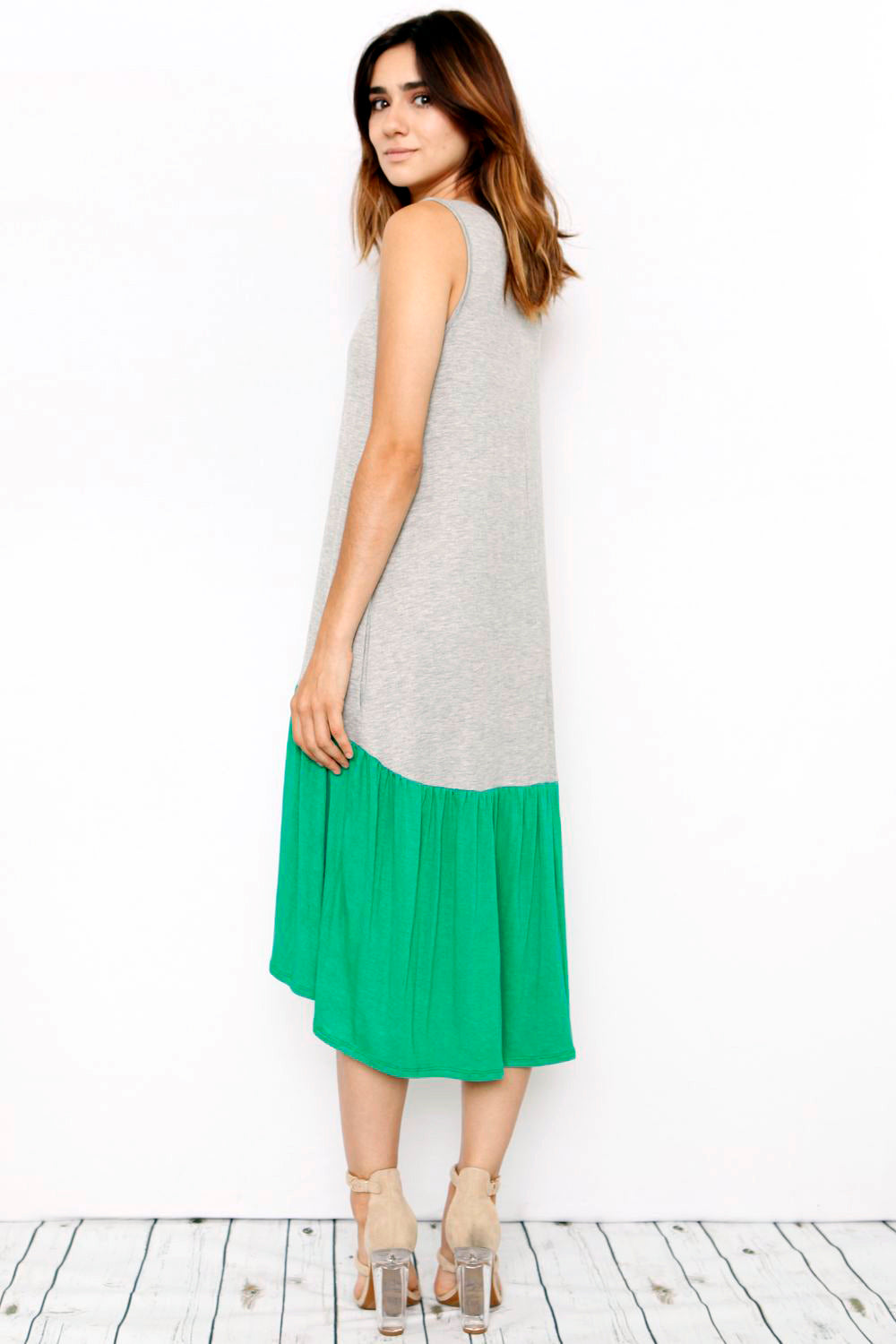 Sleeveless Two Tone High-Low Midi Dress