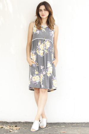 Charcoal & Yellow Floral Pompom Midi Dress
