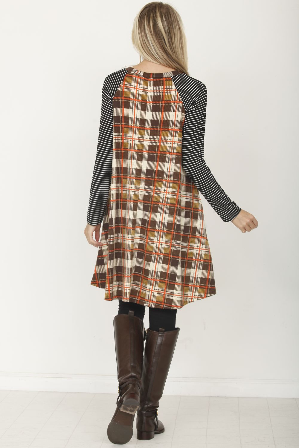 Stripe Sleeve Brown Plaid Raglan Swing Dress