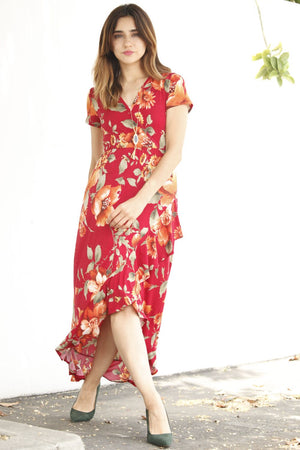 Red Floral Tulip Hem with Ruffle Maxi Dress