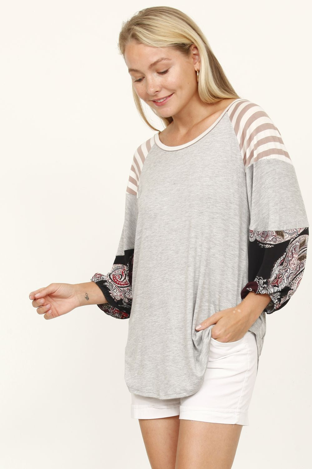 Grey Medallion 3/4 Bishop Sleeve Raglan Top