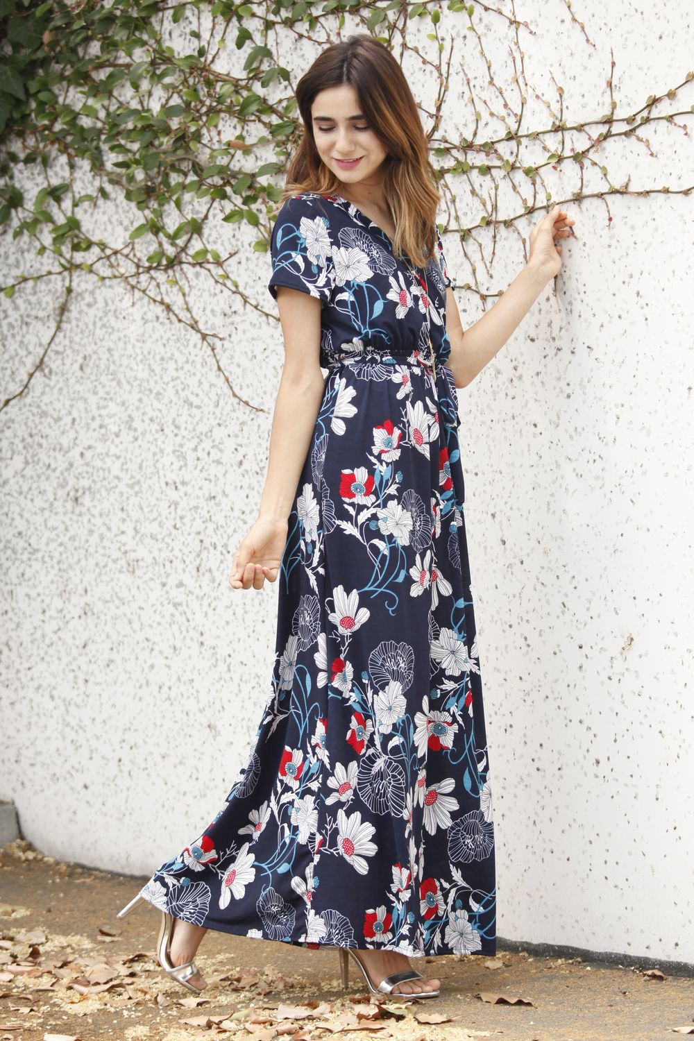 Navy & White Floral Short Sleeve Surplice Maxi Dress with Sash