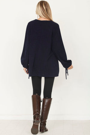 Navy Tie Sleeve Solid Tunic