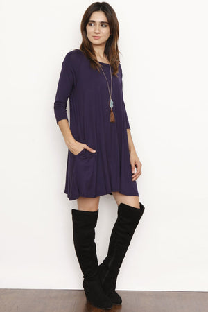 Navy 3/4 Sleeve Swing Tunic Dress