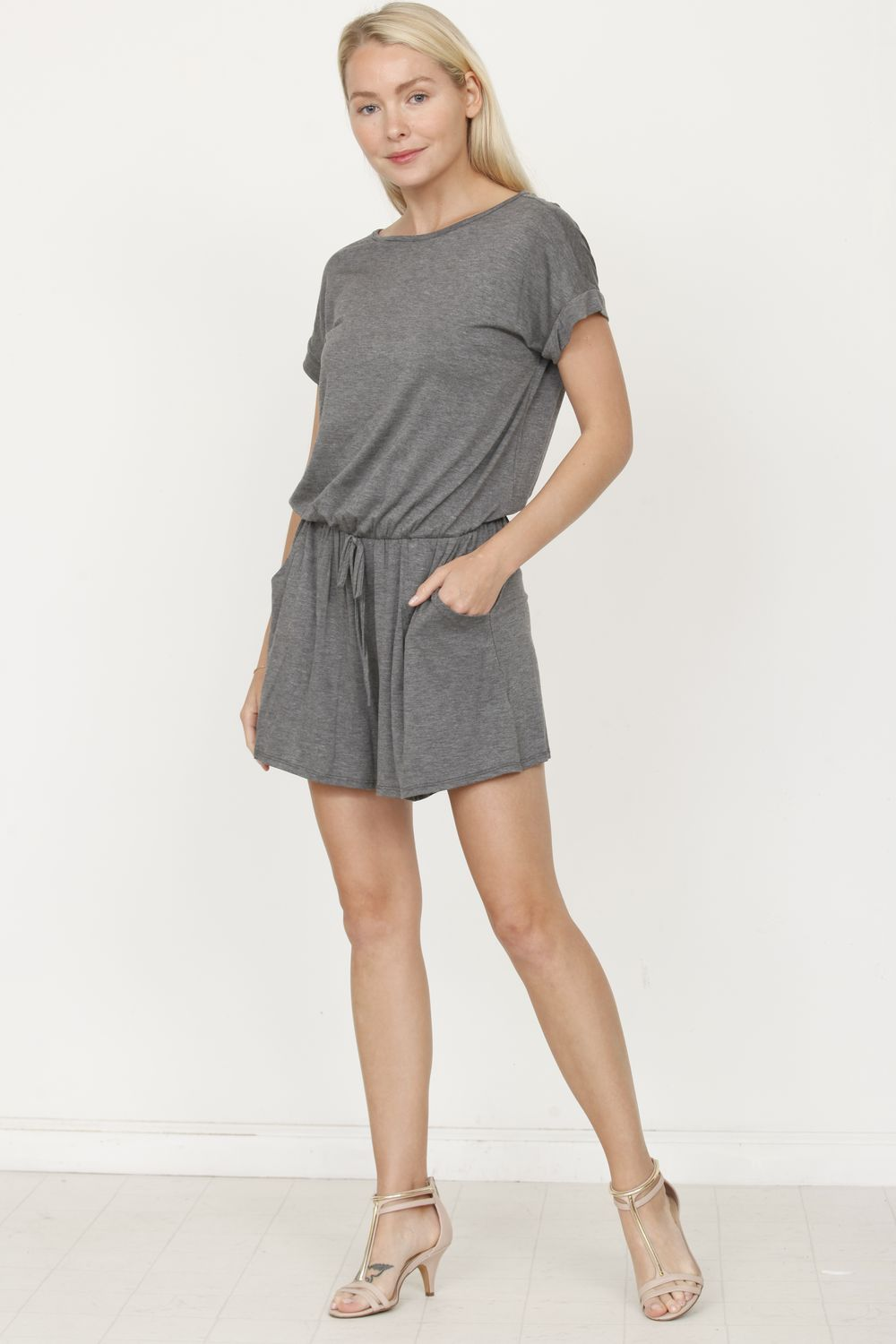 Solid Charcoal Short Sleeve Romper