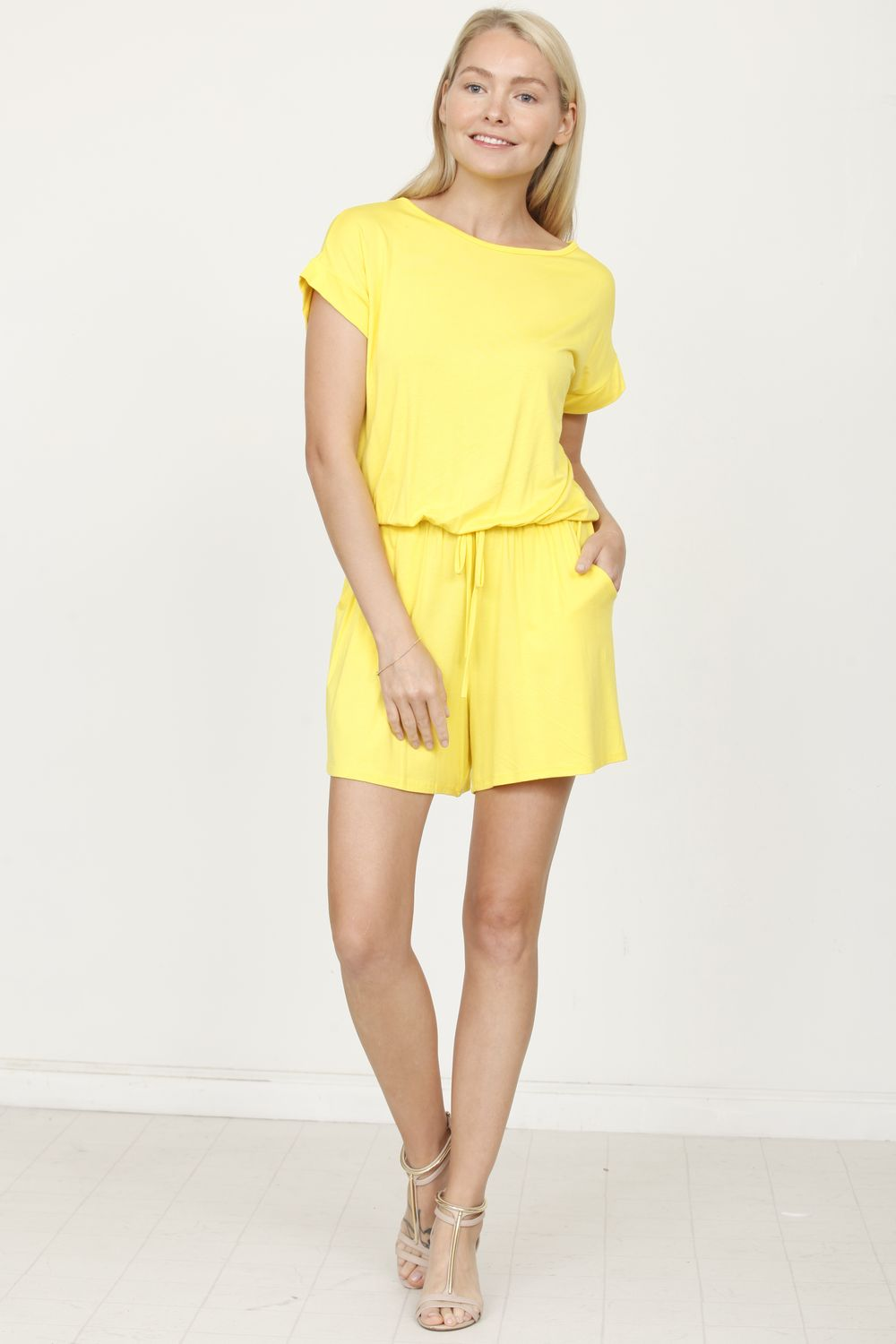Solid Yellow Short Sleeve Romper