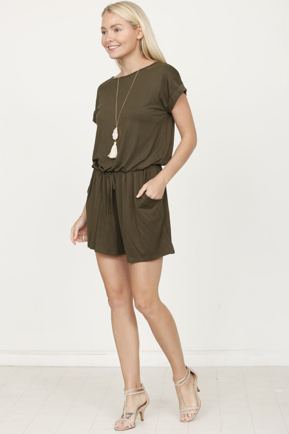 Solid Olive Short Sleeve Romper