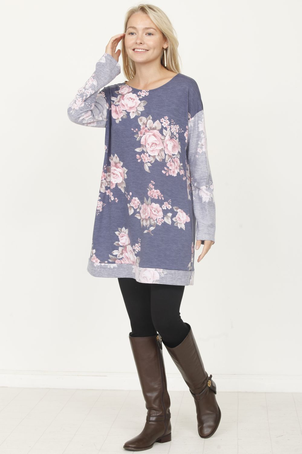 Floral Terry Sleeve Tunic