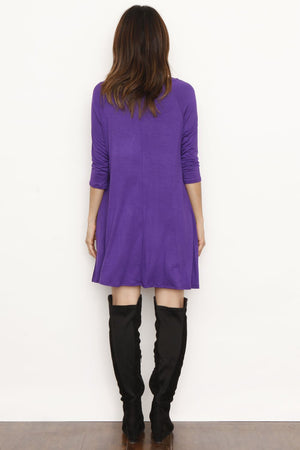 Purple 3/4 Sleeve Swing Tunic Dress