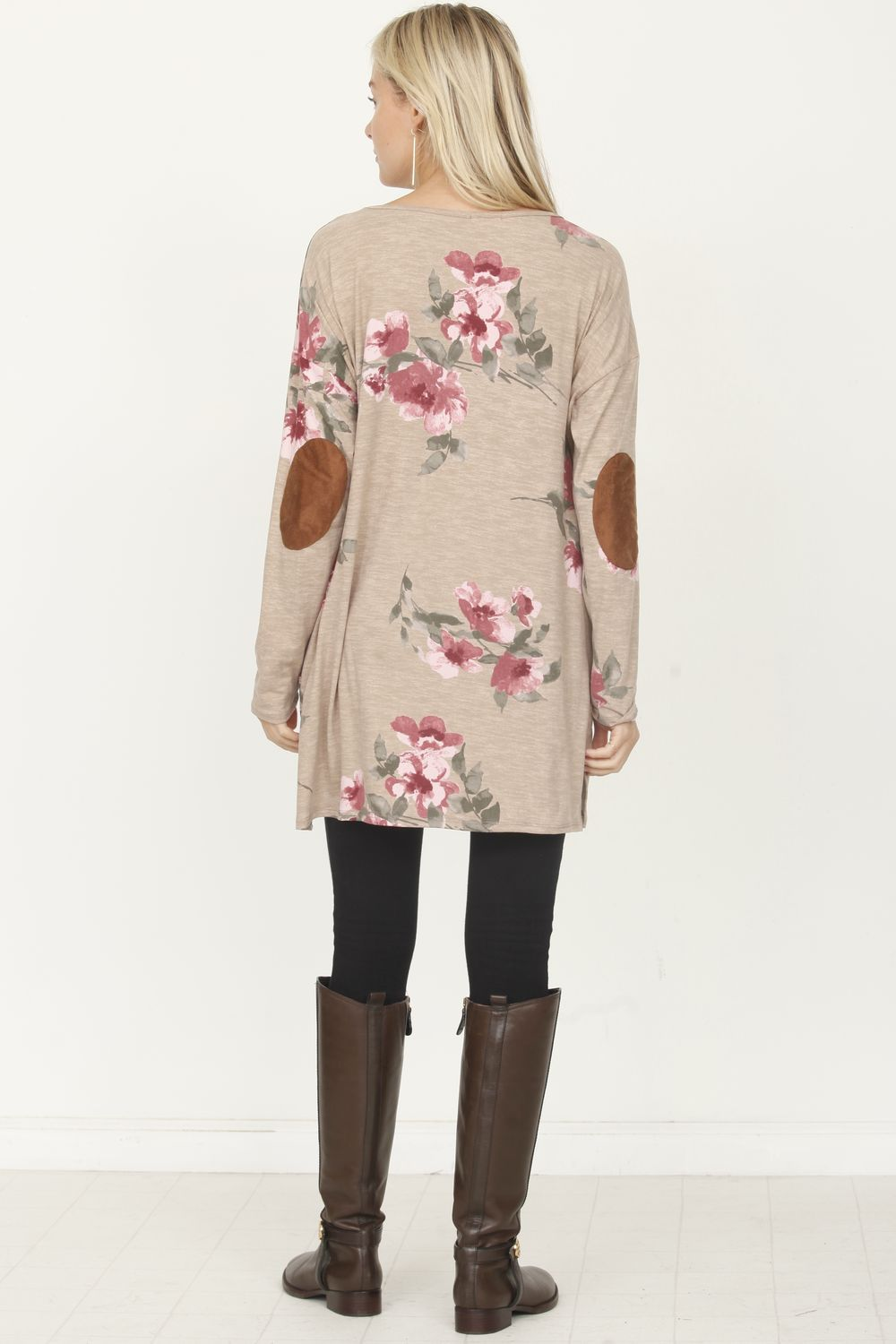 Floral Elbow Patch Tunic