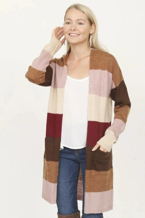 Wool Blend Stripe boyfriend long sweater Cardigan