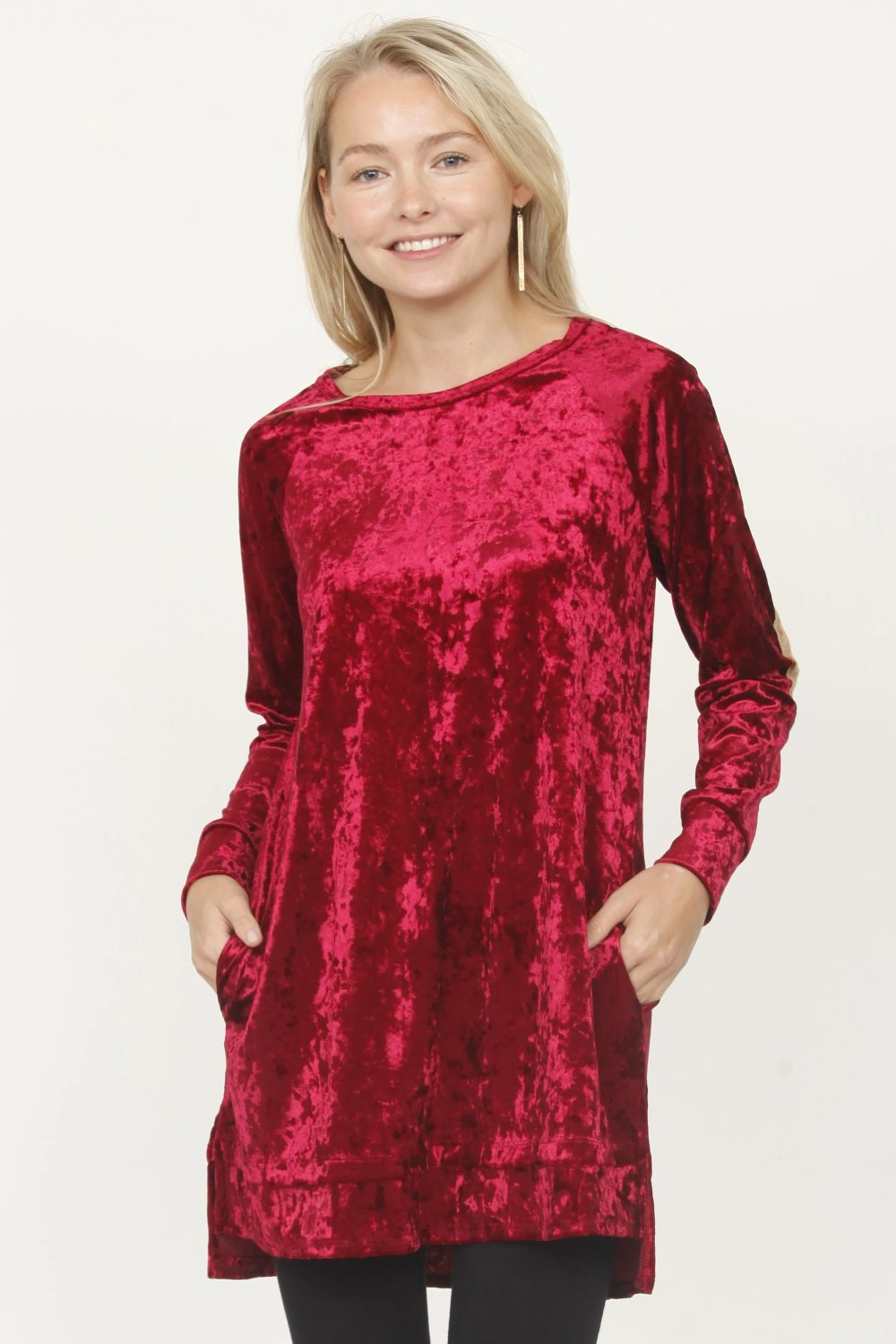 Red Velvet Tunic with Elbow Patch