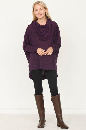 Purple Over-Sized Cowl Neck Tunic