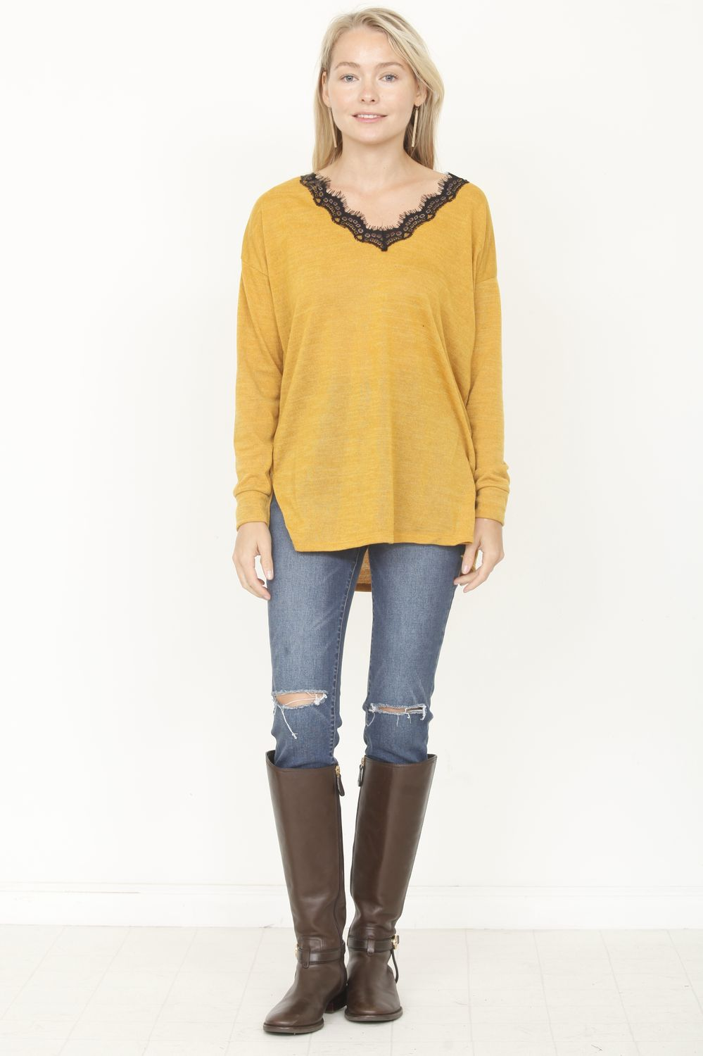 Mustard V-Neck Lace Top