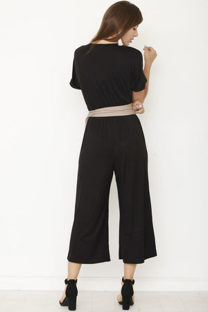 Black Surplice Mocha Sash Cropped Jumpsuit_Plus