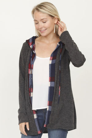 Charcoal & Navy Plaid Hooded Cardigan